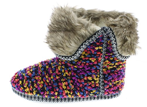 isaac-mizrahi-womens-annamarie-soft-plush-tweed-nubby-boucle-knit-house-slipper-bootie-with-fur-cuff