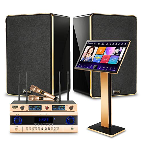 Peierstion 2020 Karaoke Machine for Adults,with 2 UHF Wireless Microphone,Professional Power Amplifier, 8''Home Theater Speakers,YouTube Movie Song WiFi Cloud Download Karaoke System (8T, Black)