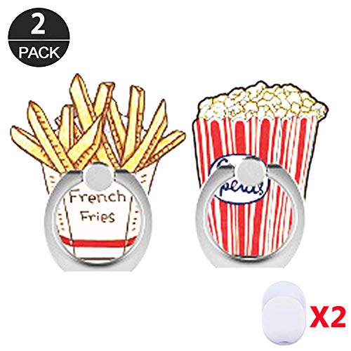 ZOEAST(TM) 3 Pack Phone Ring Grip French Fries Subway Universal 360° Adjustable Holder Car Desk Hook Stand Stent Mount Kickstand Compatible with iPhone X Plus Samsung iPad Tablet (Chips Popcorn)
