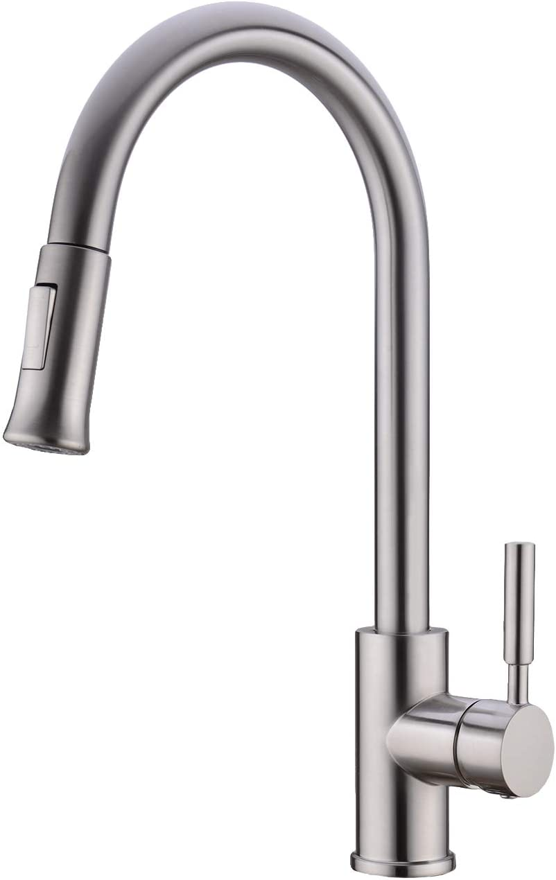 BZOOSIU Put Down Spray Kitchen Faucet, Solid Brass High Arc Single Level Handle 2-functional Nozzle Kitchen Sink Faucet, Brushed Nickel