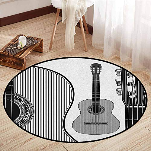Custom Rugs,Guitar,Monochrome Design Striped Acoustic Classical Instruments Folk Country Music Concert,Children Bedroom Rugs,3'7