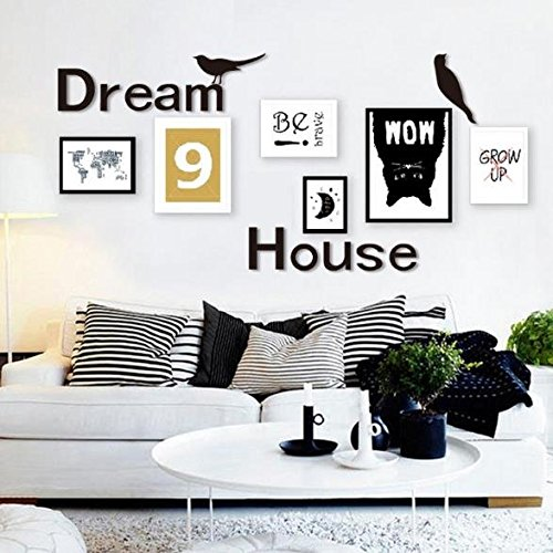 ShopSquare64 3D Dream House Multi-Color DIY Shape Mirror Wall Stickers Home Wall Bedroom Office Decor (Multi Color Tureen)