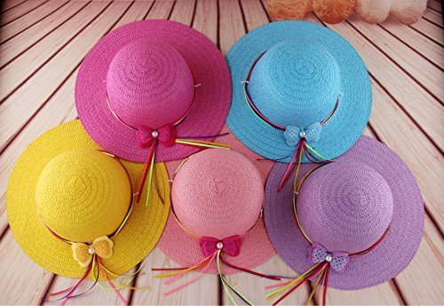 Girls Bow Straw Tea Party Hat Set (7 Pcs, Assorted Colors) ()