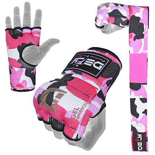 - Defy Gel Padded Inner Gloves with Hand Wraps - MMA Muay Thai Boxing Fight Pair (Pink Camo, Medium)