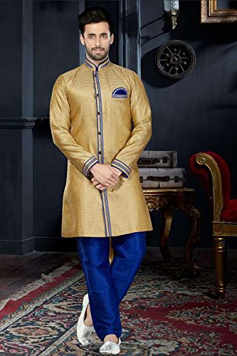 Jaipur Collections Mens Kurta Pajama Wedding Jaquard Gold India Party Wear Set Of 2