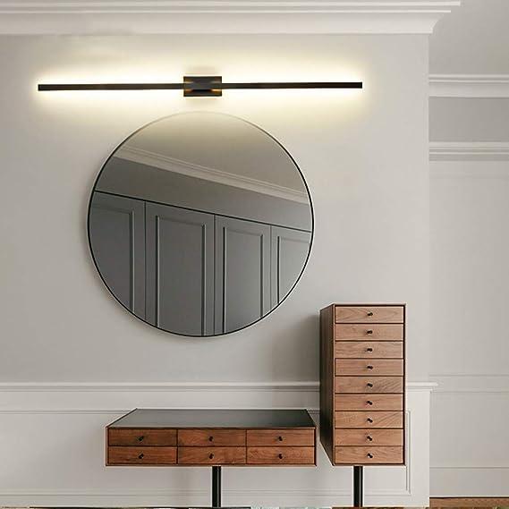 Aplique moderno de línea recta simple Lámpara de pared de pantalla de acrílico Lámparas de espejo LED Iluminación interior de la pared Luz de espejo de Interruptor de pared de uso regul,