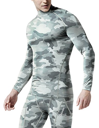 TM-T32-CGY_Small Tesla Men's Thermal WinterGear Compression Baselayer Mock Long Sleeve T Shirts T32 by Tesla