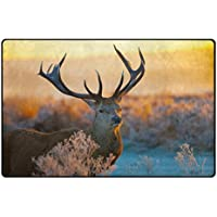 Area Rugs 60 x 39 Inches Deer Sky Light Horn Modern Soft Carpet For Living Room,Bedroom,Entrance,Decorative,Hallway