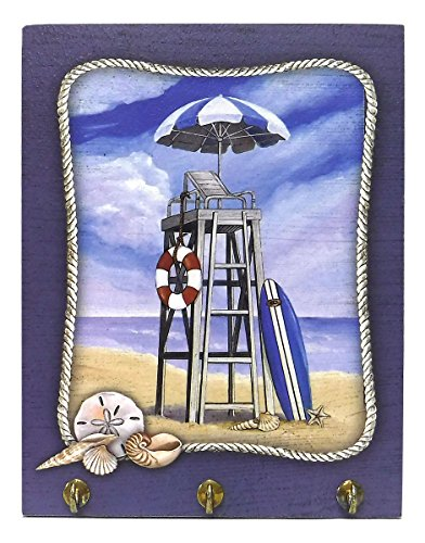 (Lifeguard Chair Beach Scene Key Hook Wall)
