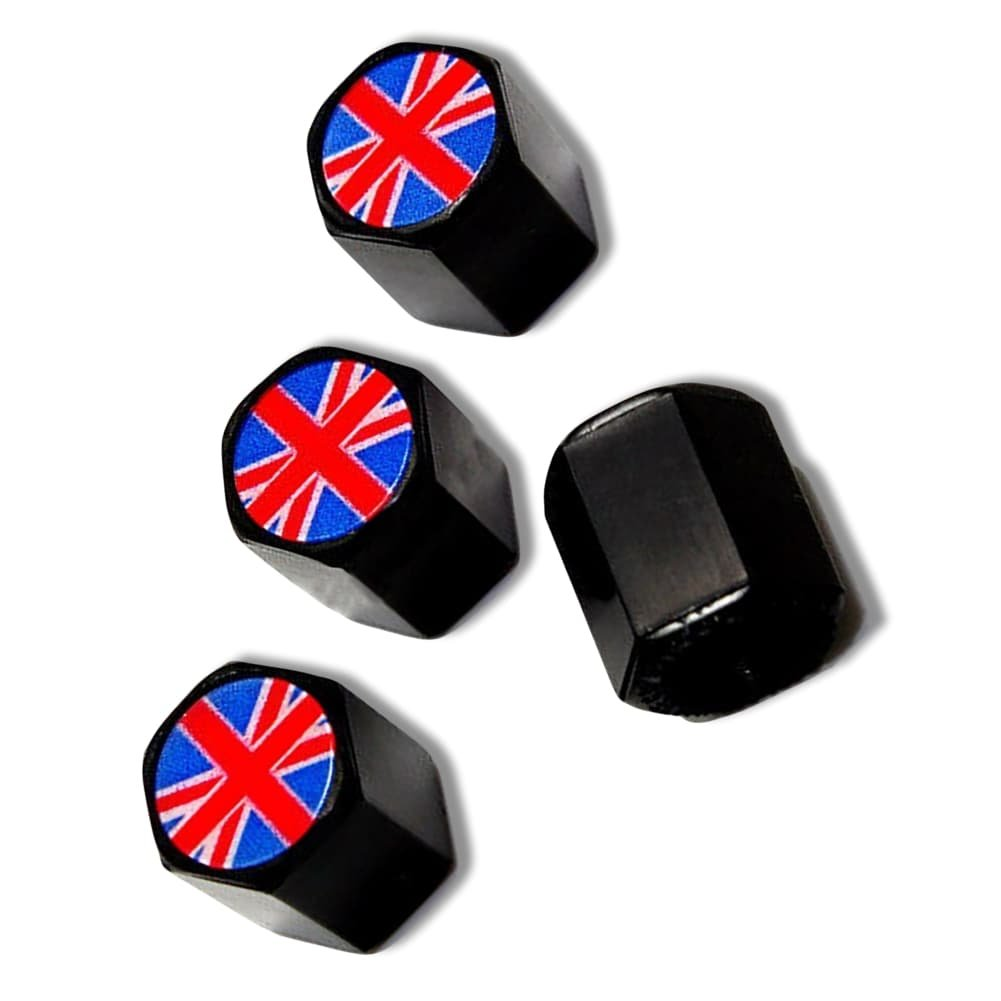 "(4 Count) Cool & Custom ""Hexagon British Flag Top"" Tire Wheel Valve Stem Cap Seal Made of Rubber {Black & Red Colors - Metal Internal Threads for Easy Application - Rust Proof - Fits For Most Cars}"
