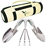 Premium Garden Tools Set with Trowel, Transplanter and Rake by ROCA Home. Great Gardening Gifts. Storage Bag and Gardening Guide Included