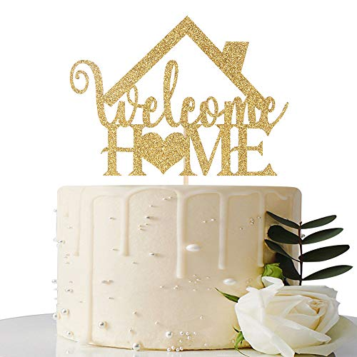 Welcome Home Baby Party Decorations (Gold Glitter Welcome Home Cake Topper - Home Party Decoration - Welcome Sign - New Home/New Baby/Retiring from the Army/Return from Maternity Party)