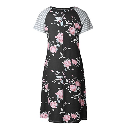 Short Midi T Floral Stripe Xuan2Xuan3 Black1 Women's Dress Print Casual Shirt 0YqtSqRwx