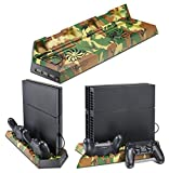 Supremery Camouflage Series PlayStation 4 Vertical Stand with Cooling Fans - DualShock 4 Charging Station Dock for PS4 Controller Charger Dockingstation + USB HUB (Camo)