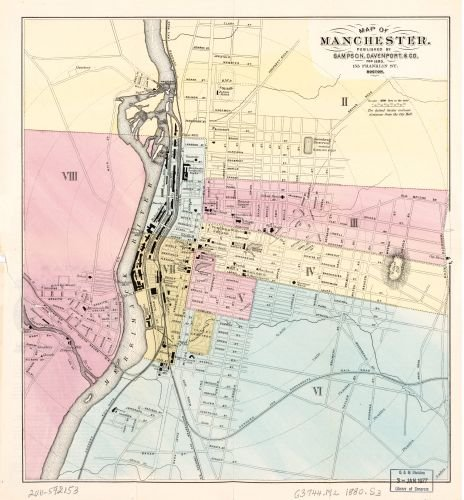 1980 Map of Manchester. - Size: 22x24 - Ready to Frame - Manchester | New Hampshire | Manchester | - Shopping Manchester Hampshire New
