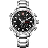 Naviforce Silver Black Analog & Digital Shadow Screen Luxury Men's Watch NF-9093 S/B/W By Lexxiv