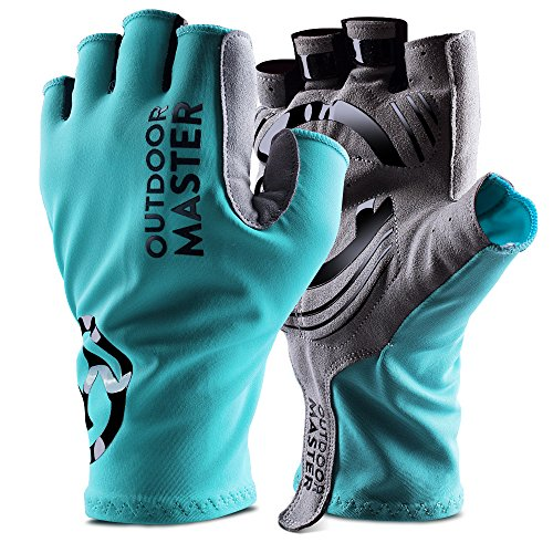 Triathlon Racing Bike - OutdoorMaster Bike Gloves - Fingerless Cycling Gloves with Shock Absorbing Pads & Anti-Slip Silica Gel - for Men, Women & Youth - XL - Teal