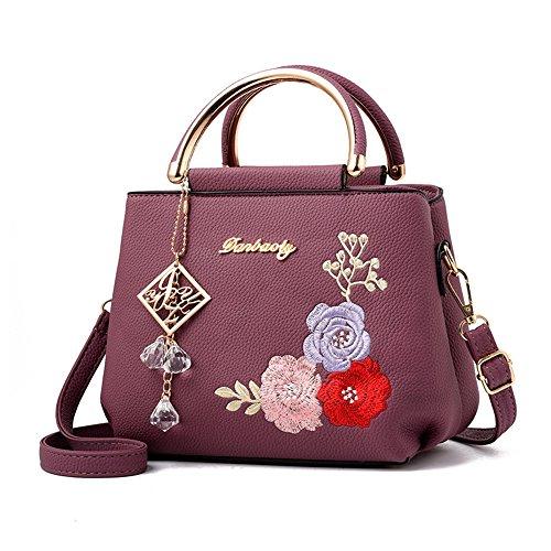 Xuanbao Bolso Simple Bordado de la Señora Que viaja la Bolsa de Asas Diagonal del Hombro del Ocio del Bolso Simple (Color : Burgundy) Púrpura