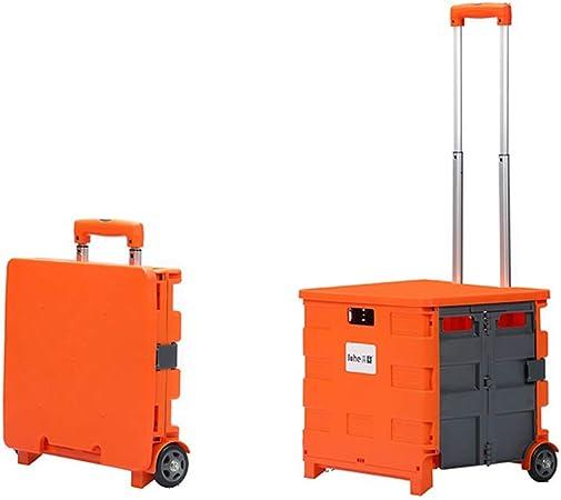 JCX Carrito de Compras Plegable con Ruedas, Carrito portátil Plegable con Caja de Embalaje y Varilla de extracción, 40 kg de Capacidad de Carga: Amazon.es: Hogar