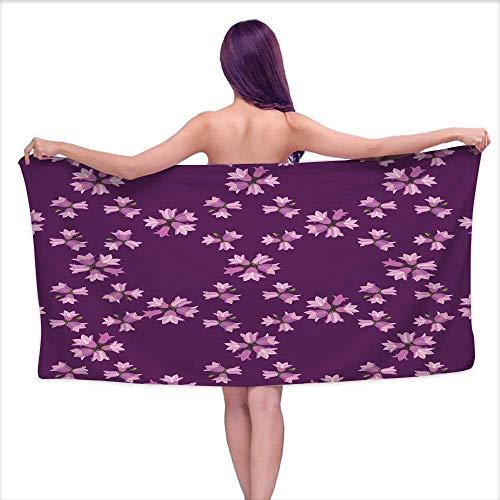 smallbeeflyyyyy Bath Towel Baby bluebells Seamless Ornamental Wallpaper Summer Meadow 1,W28 xL55 for Men red ()