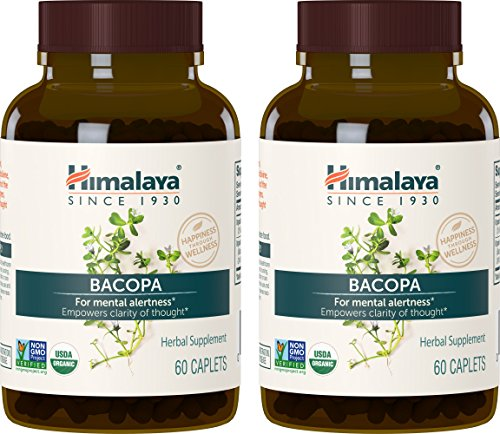 Himalaya Organic Bacopa/Brahmi, 60 Caplets for Mental Alertness, Cognitive Health & Memory Support 750 mg, (Pack of 2) ()