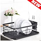 POPILION Quality Kitchen Sink Side Antimicrobial Draining Dish Drying Rack,Dish Rack With Black
