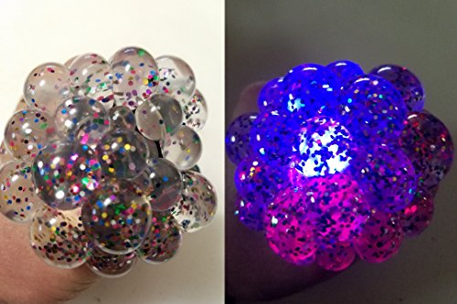 7cm X-Large Glitter Sequins Crystal Clear Slime With LED Light Squishy Mesh Anti Stress Reliever Grape Ball Autism Mood Squeeze Kid Toy Gift