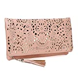 Image of BMC Womens Salmon Pink Perforated Cut Out Pattern Gold Accent Background Foldover Pouch Fashion Clutch Handbag