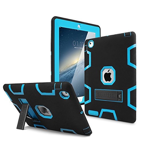 iPad 2 Case,iPad 3 Case,iPad 4 Case, AICase Kickstand Shockproof Heavy Duty High Impact Resistant Rugged Hybrid Three Layer Armor Full Body Protection Case with Stylus for iPad 2/3/4 (Black/Blue)