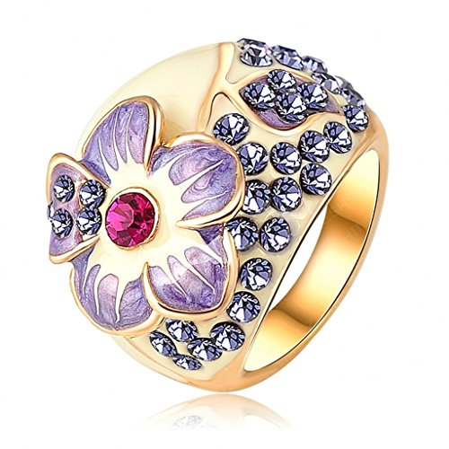Daesar Womens Rings Engraving Gold Plated Wedding Ring Flower Cubic Zirconia Ring Engagement Ring Size:9