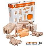 56 Piece Wooden Train Track Expansion Pack with Tunnel Compatible Thomas Wooden Railway Brio Chuggington Melissa & Doug Imaginarium Set by Orbrium Toys