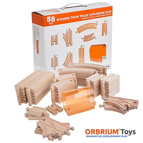 56 Piece Wooden Train Track Expansion Pack with Tunnel Compatible Thomas Wooden Railway Brio Chuggington Melissa