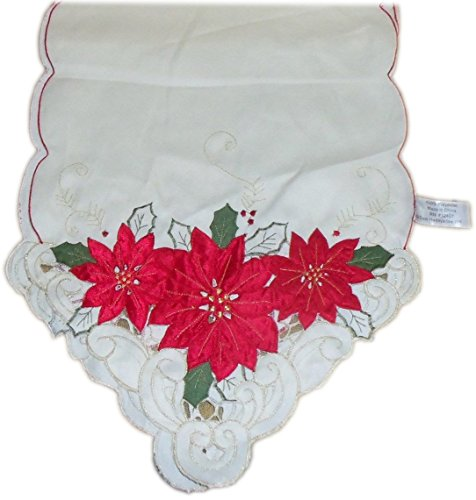 (Homewear 7270-536 Poinsettia Trio Runner, Ivory)