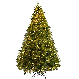 Goplus Pre-Lit Christmas Tree Artificial PVC Spruce Hinged with LED Lights and Solid Metal Legs 82
