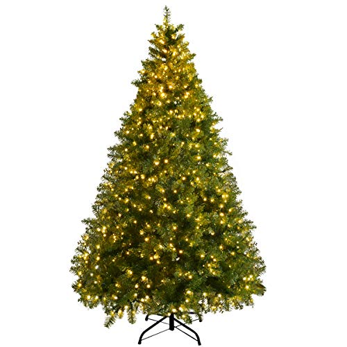 Goplus Pre-Lit Christmas Tree Artificial PVC Spruce Hinged with 560 LED Lights and Solid Metal Legs (6ft) (7-5 Ft Pre Lit Artificial Christmas Trees)