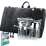 (US) Travel Toiletry Bag Flat Hanging Organizer for Men & Women + Travel Bottles Set, Airplane / TSA approved + eBook for Budget Vacation Tips by FusionTrek