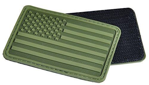 Hazard 4 (PAT-USA-L-GRN) US Flag Rubber 3D Velcro Morale Patch, Left Arm, OD Green