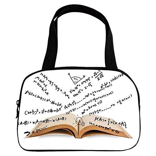 - Polychromatic Optional Small Handbag Pink,Mathematics Classroom Decor,Open Book with Mathematics Equations Intelligence,Light Brown Black White,for Girls,Print Design.6.3