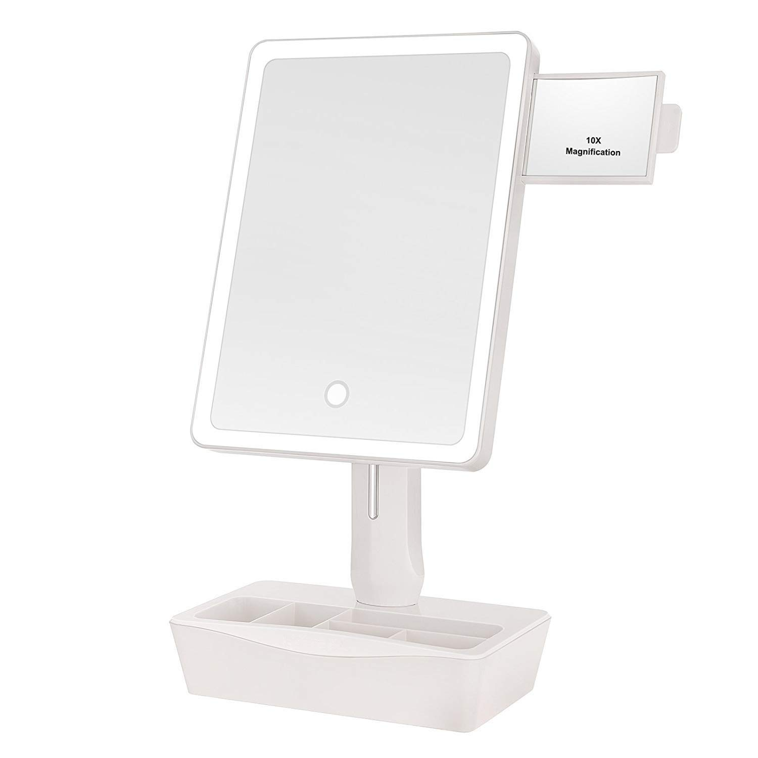 GROWRICH Lighted Makeup Mirror,with 2.9 x2.5 10X Magnifying and Slide-out Spot Mirror, Vanity Mirror with Lights,180 Degree Rotation,Smart Dual Power Supply and Adjustable LED Lights