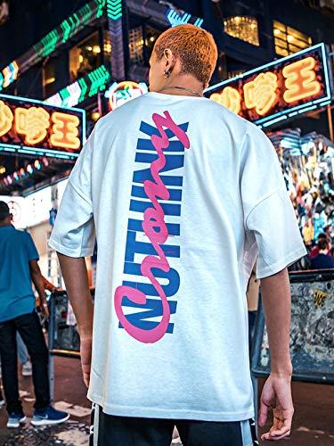 Hip shirt Manica Mezza Sciolto xl T Marea Hop Coppia Street Corta Wind Corta Donne E white Uomini Xrfhzt UxBp5