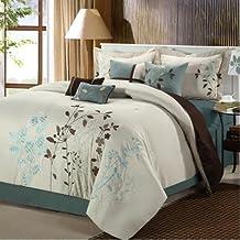 Chic Home Vines 8-Piece Comforter Bedding Set, Beige, Queen