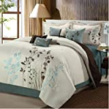 Chic Home Bliss Garden 8 Piece Embroidered Comforter Set, Queen, Beige