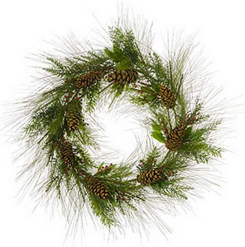 - Mikash 36 Mixed Pine, Pinecone Berry Artificial Hanging Wreath -Green/Brown | Model WRTH - 357