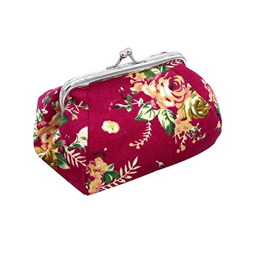 - Women Lady Retro Vintage Flower Small Wallet Hasp Purse Clutch Bag - HHmei Small Wallet| Jewelry Accessories Handbag Hangers Organizers Lingerie Sleep Lounge Clutches Backpacks Hobo (Hot Pink)