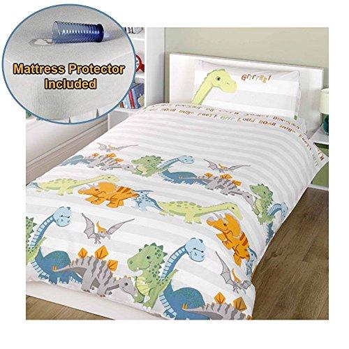 Protector Mattress Towelling (Dinosaurs Natural Junior/Toddler Duvet Cover & Pillowcase Set + Mattress Protector)