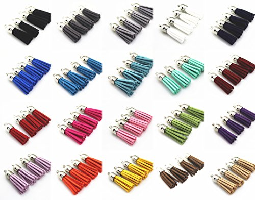 QIANHAILIZZ Mixed Color Faux Suede Tassel Leather Charm with CCB Cap for Keychain Cellphone Straps Jewelry Charms (100 Silver Tassel of 1-1/2inch)