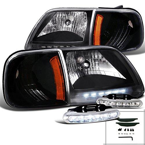 Ford F150 LED Black Headlights Corner Signal+LED Daytime Running Fog Lamp