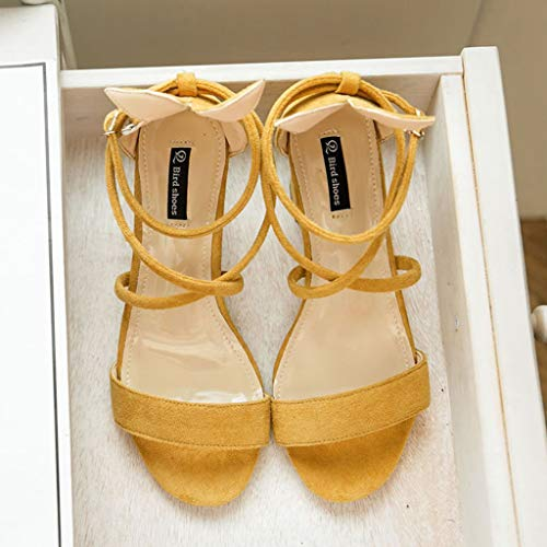 Sunhusing Ladies Casual Peep Toe Thick High-Heeled Cross Straps Buckle Buckle Casual Shoes Sandals Yellow