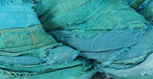 Recycled Sari Silk Ribbon- Fair Trade- Deep Turquoise- 100g ()