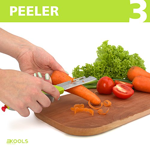 kools Clever 8-in-1 Food Chopper Set - with Chopping Board and Detachable Knife, Ideal as Vegetable and Meat Chopper or Slicer, Bottle Opener, Peeler, including Sharpener and Finger Guard by kools (Image #3)